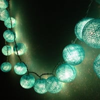 Turquoise colors cotton ball holiday/Party String Lights 20 Lanterns