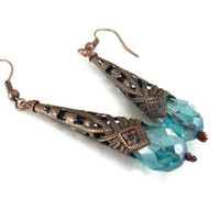 Blue crystal copper earrings by mmgem on Etsy