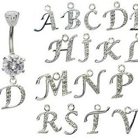 dangle belly button rings initial D  GlitZ JewelZ - laser cut CZ crystals - surgical steel 316L - bar length 3/8 inch (10mm) - many alphabets available - gently packed in a lovely velvet pouch