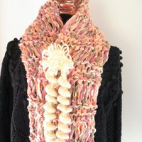 Ready to Ship/ FALL HARVEST SCARF /Gorgeous Handmade Hand Knit Pink/Peach Ribbon Wool Yarn  Scarf in Elongated Stitch/with Crochet Brooch