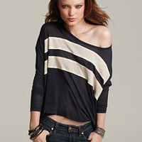 "Theory ""Pepper Hush"" Cashmere Blend Striped Tee - Contemporary - Bloomingdales.com"
