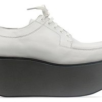 Jil Sander Navy Leather Lace Up Platform in White Grey at Solestruck.com