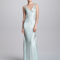 Naeem Khan V-Neck Geometric Beaded Bias Gown