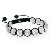 White Crystal Disco Ball Adjustable Bracelet Iced Out Hip Hop 3206