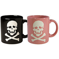 Waechtersbach Set of His and Her Black and Pink Skull Mugs | Overstock.com