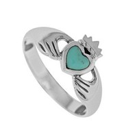 Boma Sterling Silver Turquoise Claddagh Ring