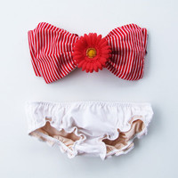 Etsy Transaction -          DiVa Red Gerbra Brooch for your Vintage Bow Bandeau Bra Top. Pin onto Halter neck top Bikini Bralette