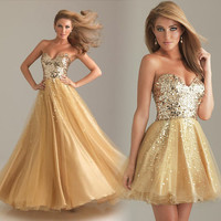 Attractive Sexy Straps Golden shiny Sequins Prom Dress