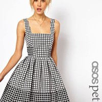 ASOS PETITE Skater Dress In Jacquard Check at asos.com