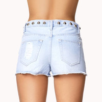 Studded Distressed Denim Shorts