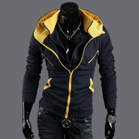 Mens slim fit hoodies Jacket hooded coat 2 colors 4 size