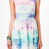 Watercolor Sky Fit & Flare Dress