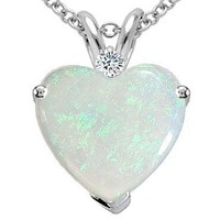 1.07 cttw Tommaso Design(tm) Genuine 8mm Heart Shape Opal and Diamond Pendant in 14 kt White Gold