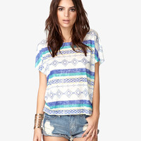 Tribal Print Burnout Tee