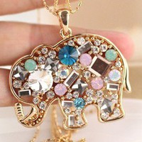 Retro crystal elephant necklace