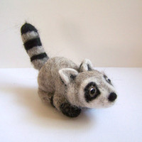 Needle Felted Raccoon Handcrafted Miniature Animal by Knittynudo