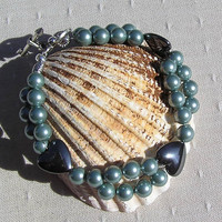 Hematite Heart & Green Shell Pearl Crystal by SunnyCrystals