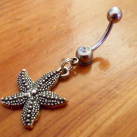 Belly Button Ring Starfish and clear gem Belly by ChelseaJewels