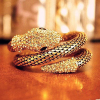 sincerely — Retro Punk Diamond Fashion Multi-Layer Full Of Diamond Snake- Wide Exaggerated Female Bracelet