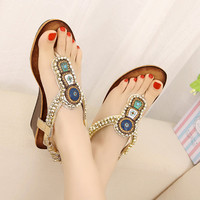 Beads Embellished Flat Sandals