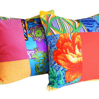 Bright Boho Chic Patchwork Pillows New by PillowThrowDecor