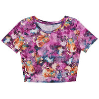 ROMWE | Purple Floral Midriff T-shirt, The Latest Street Fashion