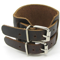 Brown Real Leather Bracelet Cuff Double Buckle Mens 