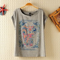 Vintage Lovely Elephant Print T-shirt