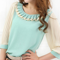 Three Quarter Sleeve Fold Chiffon Shirt