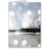 Santa Monica Pier - Grey Sparkles Photo Edit Greeting Card from Zazzle.com