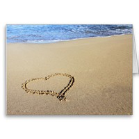 Heart in Sand Greeting Card from Zazzle.com