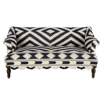 Wooden Upholstered Sofa with Bridal Rug