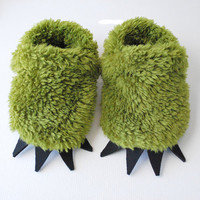 Green Monster Slippers Toddler by babycricket on Etsy