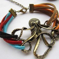 octopus color leather cord bracelet