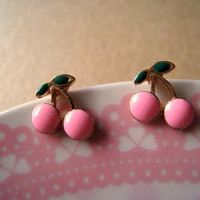 Cherry Earrings Studs Light Pink by Bitsofbling on Etsy