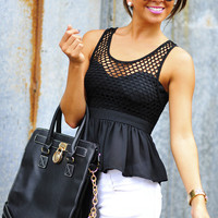 RESTOCK Sweetest Girl Babydoll Tank: Black | Hope's