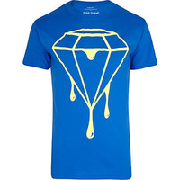 Blue neon dripping diamond print t-shirt - print t-shirts - t-shirts / tanks - men