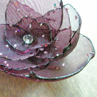 Grape Organza Flower Pin with Diamond Effects by embellishingyou