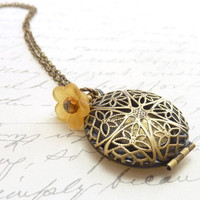 Victorian Brass Locket Antiqued Filigree by RockStoneTreasures