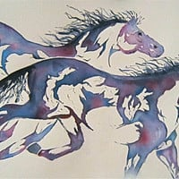 Horse Watercolor Print  &#x27;Runners&#x27; Mother&#x27;s Day by JanetLongArts