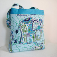 ToteElephant print in blue by moxiebscloset on Etsy