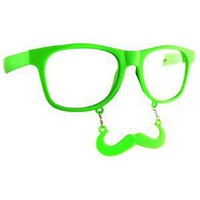 Lime Green Glow in the Dark Mustache Sunglasses