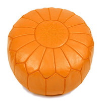 Set of 2 Moroccan leather Pouf Ottoman Poof Pouffe pouffes hassock Footstool orange