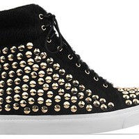 Jeffrey Campbell Alva Hi Stud in Black Pony Gold at Solestruck.com