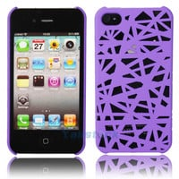 Hot Bird's Nest Style Plastic Hard Case Cover for iPhone 4 4G 4S Real Purple