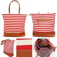 Fire Island Canvas Tote - Red