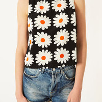 Daisy Print Shell Top - Tops  - Clothing