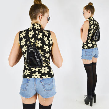 Vtg 90s grunge festival black faux patent leather small mini backpack