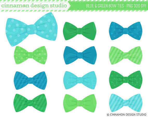 Blue and Green Bow Ties Clip Art - bows from ...