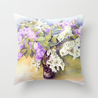 Lilacs bouquet Throw Pillow by Vargamari